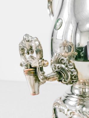 Samovar americano in silverplate FB ROGERS, con stemma del Oakley Country Club. Con expertise. Stati Uniti, Primo Novecento