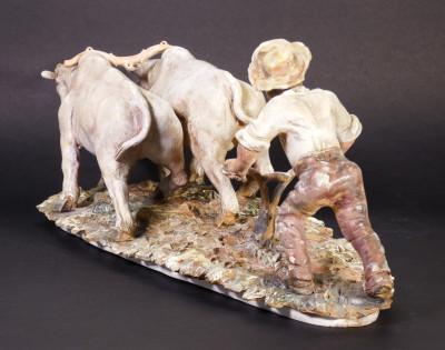 Scultura in ceramica firmata Ettore GAMBARETTO raffigurante l