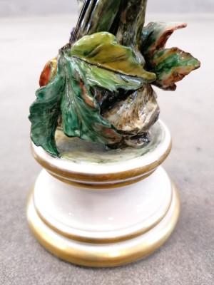 Scultura firmata Ceramiche CACCIAPUOTI. Guido Cacciapuoti. Coppia di uccelli. Italia, Anni 30/40