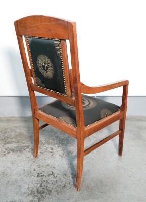 Sedia liberty in legno di noce con rivestimento Sole e Luna di Piero FORNASETTI. Italia, Anni 20/40