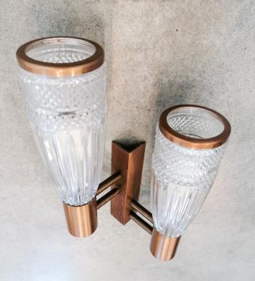 Set di tre applique design STILUX In vetro, legno e metallo. Italia, Anni 60