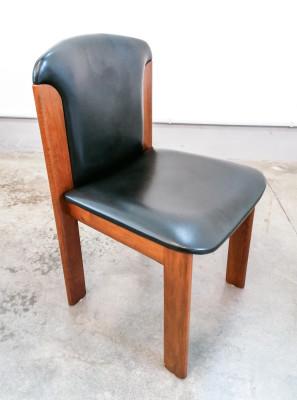 Set di sei sedie, design Titina AMMANNATI & Giampiero VITELLI per Catalano in legno di noce e pelle nera. Italia, Anni 70