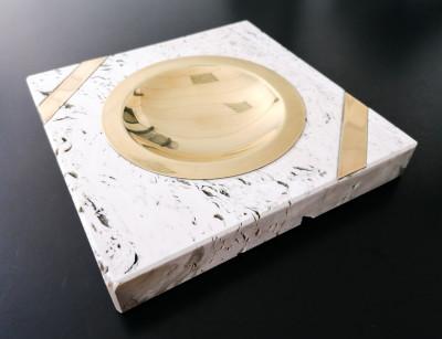 Accendino e portacenere in travertino e bronzo design Fratelli MANNELLI. L