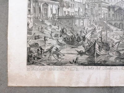 """PIRANESI, G. Battista Veduta del Porto di Ripetta (1758-1768), """"Vedute di Roma"""". Incisione all"""