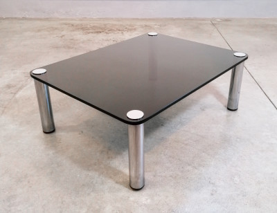 ?? TAVOLINO DA FUMO DESIGN ITALIANO 1970S VETRO FUME COFFEE TABLE BASSE VINTAGE