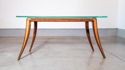 Tavolino da salotto design Osvaldo BORSANI, in legno e vetro. Italia, Anni 40
