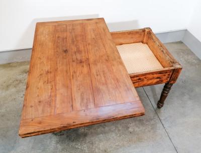 Tavolo a libro Carlo X, in legno di ciliegio, con cassetto e gambe a bottiglia, originale d