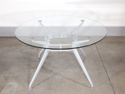 ?? TAVOLO ROTONDO VETRO METALLO DESIGN AIRON UFFICIO RIUNIONI VINTAGE GLAS TABLE
