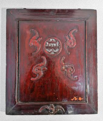 Raro tempietto ligneo di probabile tradizione buddista, decorato a intaglio e laccato. Con expertise. Cina. Fine Ottocento Inizio Novecento