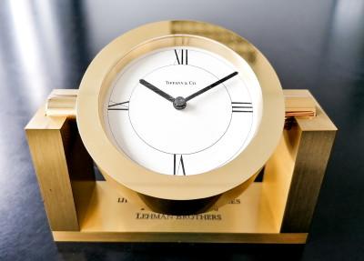 Orologio da tavolo TIFFANY & Co. celebrativo Banca di Novara Lehman Brothers Ottone, in confezione originale. Datato 1995