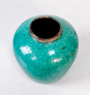 Antico vaso cinese per la conservazione delle spezie, in ceramica e invetriatura verde-turchese. Con expertise. Cina, Fine Settecento Inizio Ottocento