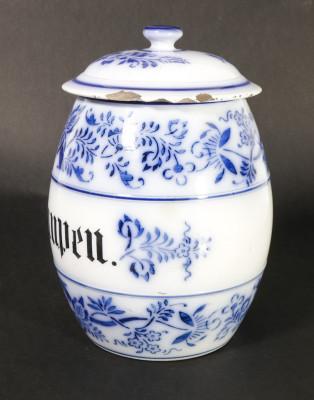 Vaso da farmacia con coperchio, in ceramica dipinta con la tecnica
