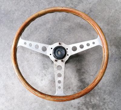 Volante sportivo di design NARDI In legno e metallo. Italia, Anni 60/70