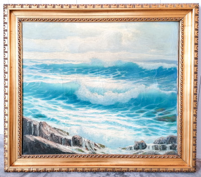 Dipinto a olio su tela a firma Willem WELTERS (1881-1972) Marina Italia, Primo Novecento