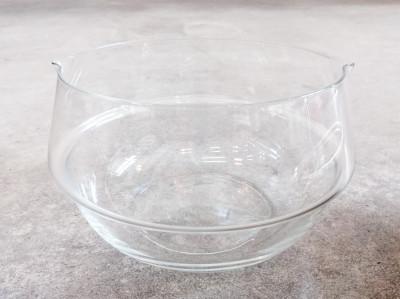 Zuppiera con mestolo design Lino SABATTINI per Argenteria Sabattini in cristallo e metallo argentato. Italia, Anni 70/80