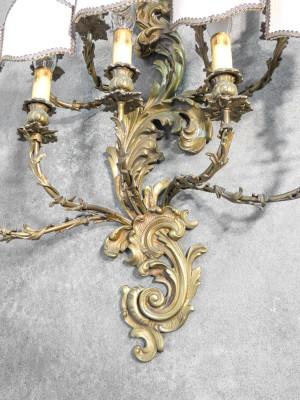 Applique barocca stile LUIGI XV in bronzo, a undici lumi. Novecento