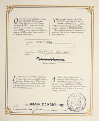 Bassorilievo a firma Francesco MESSINA, Adamo ed Eva, argento 925, numerato 51/1800, con autentica. Italia, 1982
