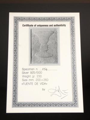 Bassorilievo a firma Salvador DALÌ, Fuente de Vida, in Argento 925, con autentica. 1977