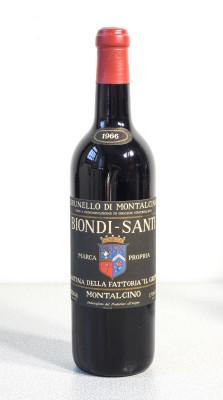 Bottiglia di vino Brunello di Montalcino del 1966, cantina BIONDI SANTI - Il Greppo. Montalcino (Siena)