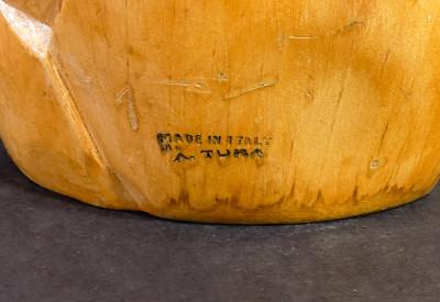Brocca di design Aldo TURA (1909-1963) legno e metallo argentato. Italia, Anni 50