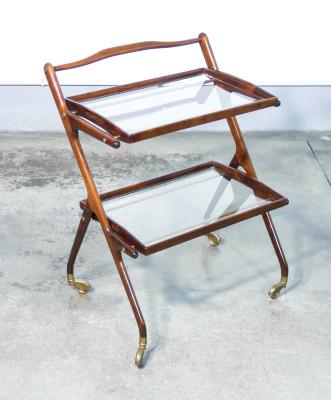 Carrello portavivande design italiano Cesare LACCA, con due vassoi estraibili. Italia, Anni 40/50