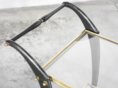 Carrello portavivande in legno laccato e ottone. Design italiano anni 40/50. Italia