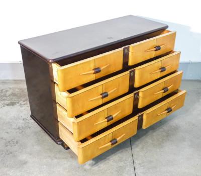 Comò, cassettiera a quattro cassetti in legno, art decò, design italiano. Anni 40