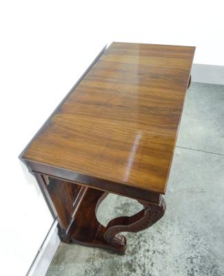 Console Carlo X in legno di noce e radica di noce. Ottocento