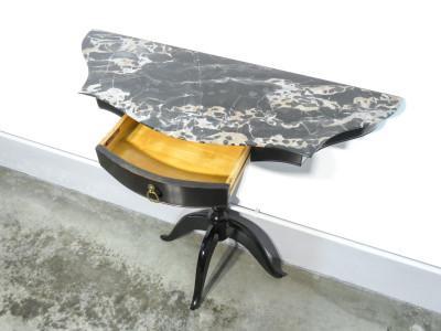 Console di design italiano in legno e piano in marmo. Mobili BAROVERO. Italia, Anni 50/60