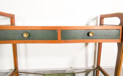 Console di design italiano in legno e metallo, con due cassettini. Italia, Anni 50/60
