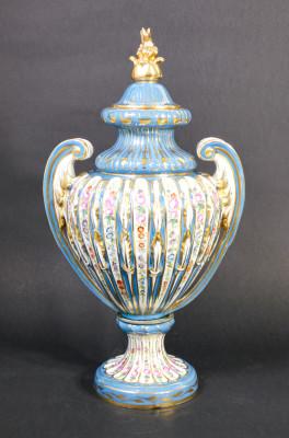 Coppia di vasi Porcelaine de Paris in ceramica dipinta a mano, con coperchi. Parigi Francia. Fine Settecento, Inizio Ottocento