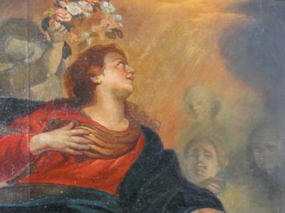 Grande dipinto a olio su tela Assunzione della Vergine. Italia, Fine Ottocento Primo Novecento