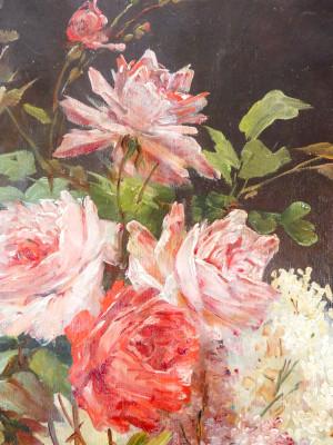 Grande natura morta in olio su tela, a firma Alfred GODCHAUX (1835-1895). Francia, Ottocento