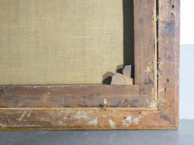 Dipinto a olio di scuola italiana settecentesca, Scena pastorale. Cornice coeva dorata in foglia oro. Italia, Settecento