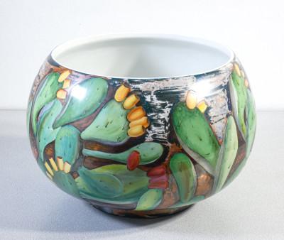 Cachepot in ceramica dipinta a mano LAVENIA. Italia, Anni 50