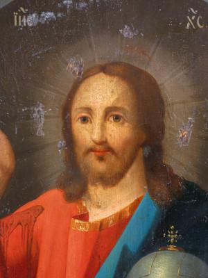 Antica icona russa con riza in argento vermeil riportante il punzone di San Pietroburgo e dell