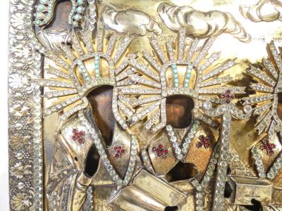 Antica icona russa con riza in argento 84 dorato e pietre dure. Santi. Sul retro, sigillo di famiglia nobiliare comitale italiana. Saratov, Primo Ottocento
