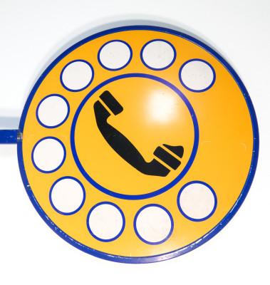Insegna SIP da esterno Telefono pubblico a gettoni, Bifacciale. Italia, Anni 80