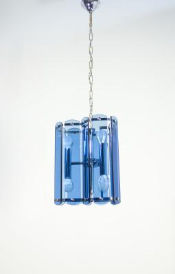 Lampadario di design italiano in vetro e metallo cromato. Italia, Anni 70