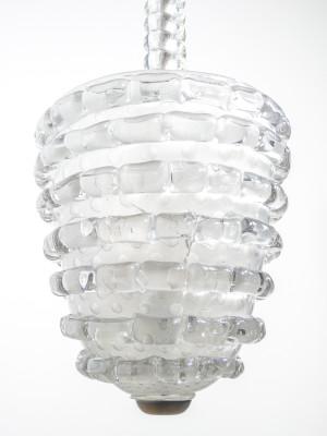 Lampadario a sospensione in vetro soffiato BAROVIER & TOSO. Murano, Anni 40