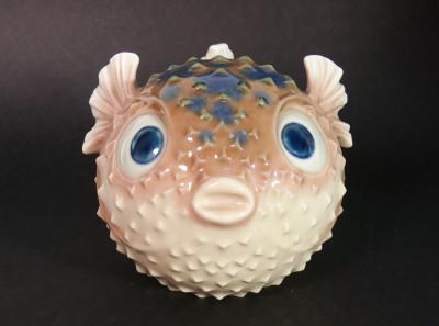 Rara sculturina LLADRÒ Pesce palla in ceramica dipinta. Spagna, Anni 70/80
