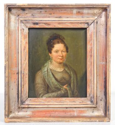 Miniatura, ritratto di donna, a firma Johann Paul EISENMEYER (act.1820-1846), olio su rame. Austria, 1820