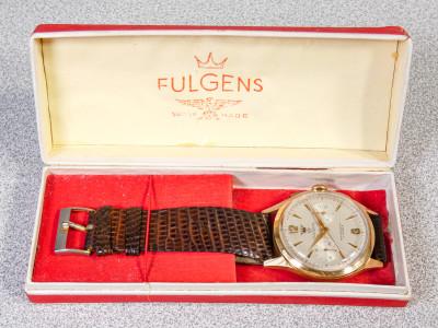Cronografo da polso FULGENS con movimento LANDERON 51 a carica manuale, tre tasti, 17 gioielli. Custodia originale. Svizzera, Anni 30/40