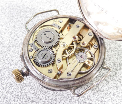Orologio in argento 800 firmato Giuseppe GERBINO Torino, modello da tasca con anse per il cinturino. Fine Ottocento Primissimo Novecento