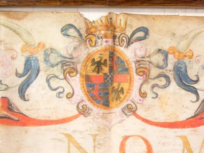 Pergamena manoscritta che conferma i privilegi concessi da Galeotto III Pico della Mirandola al giudice Attilio Ballentino. Italia, 25 giugno 1586