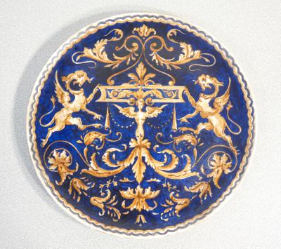 Piatto in ceramica, terraglia forte, dipinta a mano S.C.I. LAVENO, Società Ceramica Laveno Italia, 1935