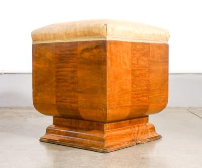 Poggiapiedi art Decò in legno e radica. Italia, Anni 20