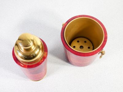 Porta ghiaccio e shaker design Aldo TURA per MACABO. Ottone e pergamena. Italia, Anni 50