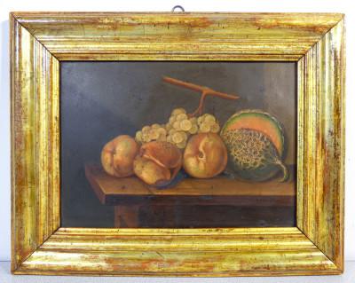 Dipinto firmato Giovanni Maria BORRI (1811 - 1876) Natura Morta. Olio su metallo. Italia, 1854