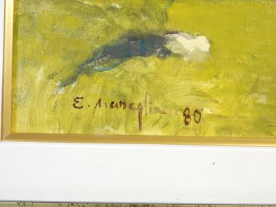 Dipinto a olio firmato Edmondo MANEGLIA (1925-2003), Processione ad Ala di Stura. Italia, Anni 80